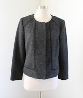 Tahari Black Gray Metallic Tweed Collarless Shaped Blazer Jacket Size 10
