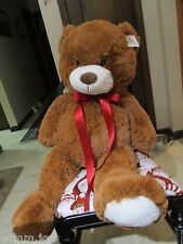 GIANT STUFFED PLUSH BROWN TEDDY BEAR STANDS 3 FEET TALL SUPER SOFT WHITE NOSE