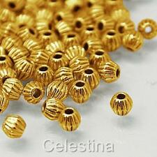 50  x  Antique Gold Spacer Beads - Bicone Groove Beads - LF CF  - 4mm -  SP56