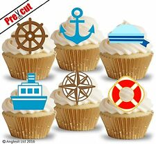 PRECUT NAUTICAL & SAILOR ACCESSORIES II. EDIBLE WAFER CUP CAKE TOPPER DECORATION