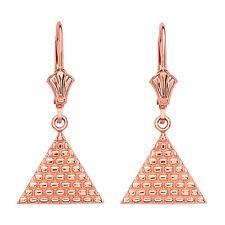 14K Rose Gold Egyptian Pyramid Triangle Drop/Dangle Leverback Earrings