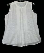 Women's Medium to Large white sleeveless blouse, lacy back by Liz Claiborne