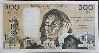 Billet 500 francs PASCAL 2 - 3 - 1989 FRANCE D.296
