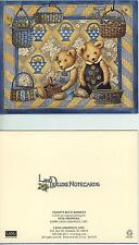 TEDDY BEARS WICKER BASKETS GARDEN FLOWERS QUILT CARD 1 MARE COLT HORSE ART CARD