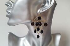 Gorgeous 7cm gold tone & dark brown bead & chain chandelier style drop earrings