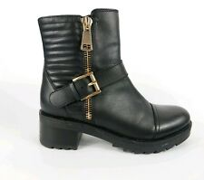 Dune Black Leather Block Heel Ankle Boots Uk 4 Eu 37