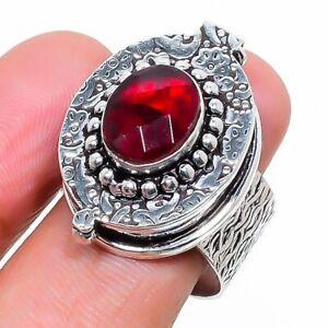 Mozambique Red Garnet Handmade Gemstone Poison Box Ring Size 7.5 O220