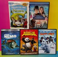 LOT of 5 Disney DVD Movies Terabithia Shrek Finding Nemo Kung Fu Panda Happy