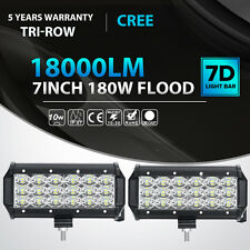 2x Tri Row 7Inch 180W Led Work Light Bar FLOOD Offroad Driving 4WD Truck Lamp 6""