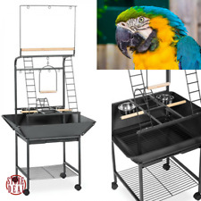 Parrot Play Stand Rolling Bird Area Cup Feeder Toy Treat Wheels Exercise Conure