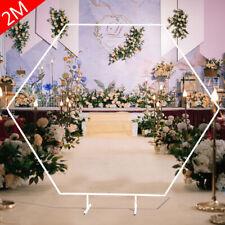 New Hexagon Arch Wedding Backdrop Stand White Wrought Iron Frame Freestanding 2m