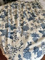 VTG LOVELY*IVORY WHITE BLUE CHINOISERIE FLORAL BIRDS PLEATED CURTAINS DRAPES 2PC