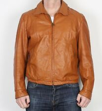 """Leather Bomber Jacket Coat Medium Large 42"""" Brown 80's (D2B) with lining"""