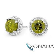 New Classic Olive Green And White Cz Dress Pt 925 Sterling Silver Earrings