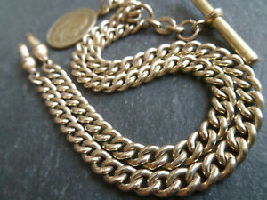 Antique Edwardian 18ct Rolled Gold Double Albert Pocket Watch Chain and Fob