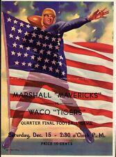 1945 MARSHALL MAVERICKS - WACO TIGERS Texas High School PLAYOFF FOOTBALL PROGRAM