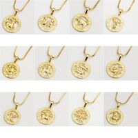 """12 Horoscope Pendant Necklace 18k Yellow Gold Filled 18"""" Chain Fashion Jewelry"""