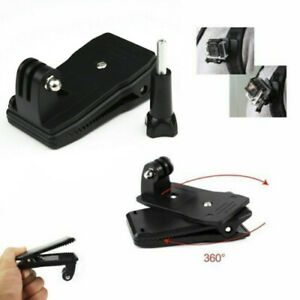 360° Rotary Backpack Hat Belt Clip Fast Clamp Mount For Gopro Hero 8 7 6 5 4 3+