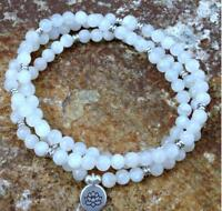Yoga 6MM Natural Moonstone white 108 Mala yoga Bracelet Buddhism Handmade