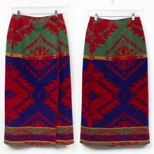 Vintage Ralph Lauren Country Native Blanket Wool Wrap Skirt 6 Indian Small S