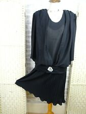 vintage 20s flapper style tea dress black pleated gothic poly USA  M D881