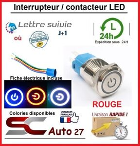 interrupteur / bouton poussoir LED 16 mm avec fiche de connexion rouge locked