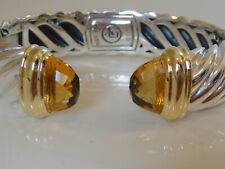 $1950 DAVID YURMAN 18K GOLD, SILVER WIDE WAVERLY CITRINE BRACELET