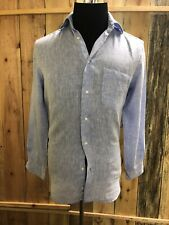 Men's Saks Fifth Avenue Light Blue Linen Shirt Sz Small Slim Fit