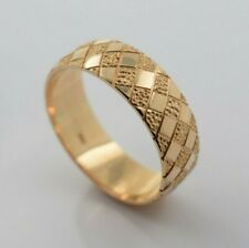 14K Yellow Gold Handmade Wedding Ring with Checker Pattern