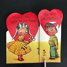 Vtg 40s 50s Key To My Heart Valentines Card Ephemera Greeting FoldOut Ameri-Card