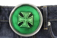 Silver Round Green Iron Cross Motorcycle Men Women Buckle Metal Fashion Biker