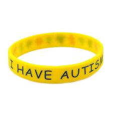 I Have Autism Silicone BRACELET Medical Alert ID Wristband Yellow NEW (BYGO)