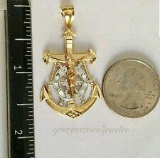 3 tone 14k Yellow white Gold Jesus Crucifix Anchor Pendant charm 1.75 inch