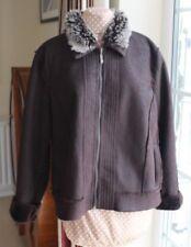 Debenhams Brown Fake suede leather Fur lined Bomber Jacket size 18 hardly worn