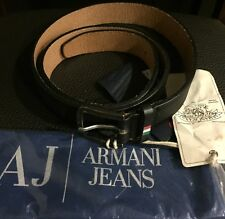 Armani Jeans Belt 100% Leather Black Limited Edition Golden Vintage NWT Italy