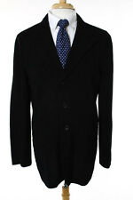 Armani Collezioni Black Waffle Knit Collared Mens Blazer Size 40