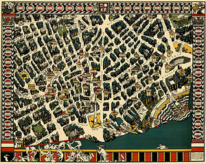 A pictorial map of London Theatreland 1915 Old, Vintage  Poster - Reprint