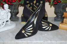 VINTAGE VERSANI ITALY BLACK SUEDE & GOLD JEWELED HIGH HEEL WOMEN'S PUMPS SZ 6 B