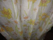 VINTAGE SEMI SHEER PUMPKIN GREEN CREAM FLORAL FABRIC SHOWER CURTAIN 67 X 70