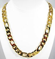 "12mm MONSTER FIGARO ""PVD BONDED"" 18kt GOLD 18""to 36"" MENS &WOMANS Chain NECKLACE"