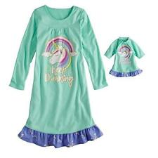 Girl's Micro-Fleece Mint Green Unicorn Nightgown with Doll Gown