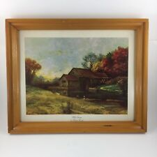Robert Wood Art Lithograph Mill Stream Landscape Wood Framed Picture 15x12
