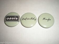 OASIS - DEFINITELY MAYBE PROMO BUTTONS - SET OF 3 - 2014 RE-ISSUE