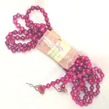 Magenta Pink Mercury Glass Christmas Bead Garland in Wrapper