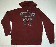 Boys Hoodie Sweat Jacket CITYWIDE SPEEDWAY AUTO CLUB XXL 18 Deep Burgundy HANES