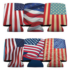 Set of 6 USA Patriotic American Flag Themed Koozies (6 Different Designs)