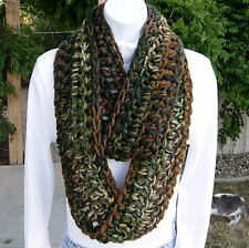 INFINITY SCARF LOOP COWL Green Brown White Camo, Handmade Crochet Bulky Winter