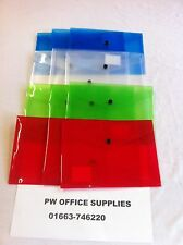 120 X A5 PLASTIC DOCUMENT WALLETS  ASSORTED COLOUR POPPER STUD FASTNER