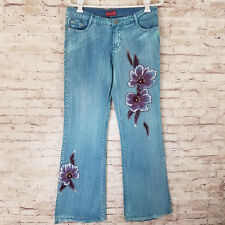 Identita Womens Jeans Size XL Stretch Embroidered Floral Light Wash Flare Leg