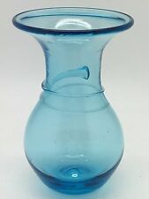 Bath Crystal Blue Glass Vase with applied tadpole threading round the neck.
